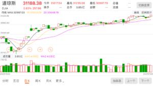 美股 DJIA 道琼斯股票指数曲线 210122